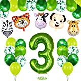 3 Años Selva Fiesta de Cumpleaños Decoracion, 3 Años Cumpleaños Decoración Set con Foil Globo Número 3 Verde y Bosque Animal Globos para Niño Niña 3er Cumpleaños Baby Shower