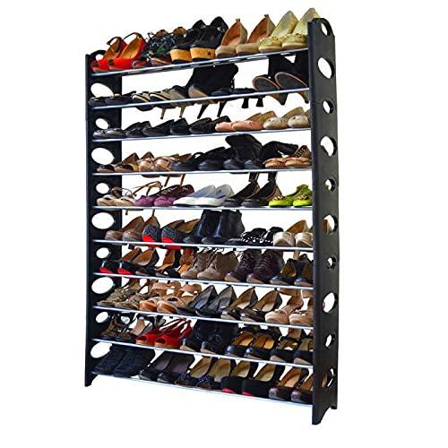 Bedding Home Zapatero organizador de almacenamiento para ahorrar espacio estante 4/6/8/10 niveles 12-50 pares (10 niveles)