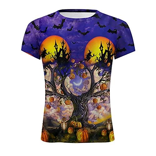 Binggong Maglietta da Uomo T-Shirt Manica Corta Shirt Halloween Themed Leggero Henley Vestibilità Morbida Casuale Maglia Traspiranti Girocollo Stampa Cerimonia Classic Cosplay