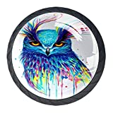 Owl Drawer Pulls Handles Cabinet Dressing Table Dresser Knob Pull Handle with Screws 4pcs