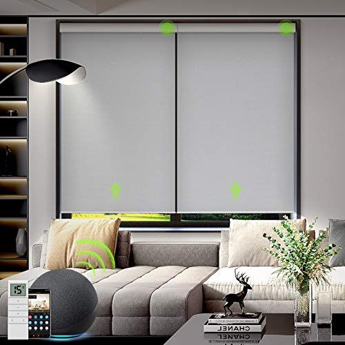 Yoolax Motorized Blackout Roller Shade Fabric Material Smart Blind Work with Alexa Cordless Remote...