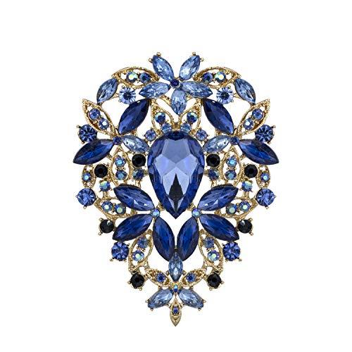 YOQUCOL Vintage Blue Austrian Crystal Rhinestone Leaf Shape Big Large Brooch Pin For Women Gold Tone