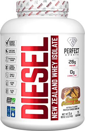 PERFECT Sports, Diesel 100% New Zealand Whey Isolate, Grass-Fed & Pasture Raised 5LB Chocolate Peanut Butter