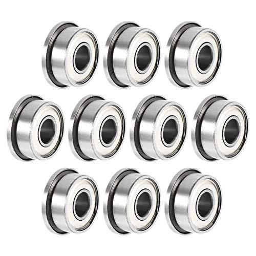 Sourcingmap FR2-5zz Rodamientos de bolas con brida de 1/8'x5/16'x9/64', doble blindado, rodamientos de acero cromado, 10 unidades