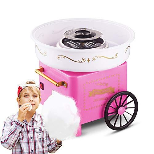 ZGNB Retro Macchina per Zucchero Filato, Cotton Candy Macchina in Acciaio Inossidabile, USA Regolarmente Zucchero Normale o Caramelle, Festa Compleanni Bambini (Rosa)
