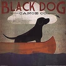 Ryan Fowler – 黒犬のカヌー ファインアート プリント (30.48 x 30.48 cm)