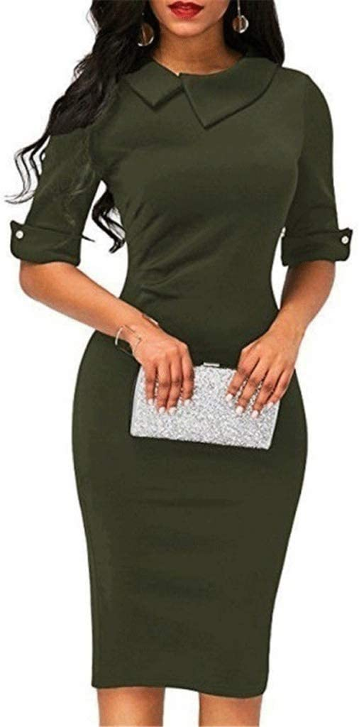 ZAJ Office Women Dresses Solid Color Turn-Down Collar Half Sleeve Lady for Bodycon Pencil Dress Female 1pc (Color : Green, Size : Medium)