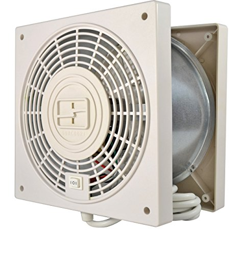 Suncourt TW408 ThruWall Room to Room Transfer Fan, Quiet 2-Speed Wall Mounted Plug-in Fan with 10 Foot Power Cord and Installation Kit