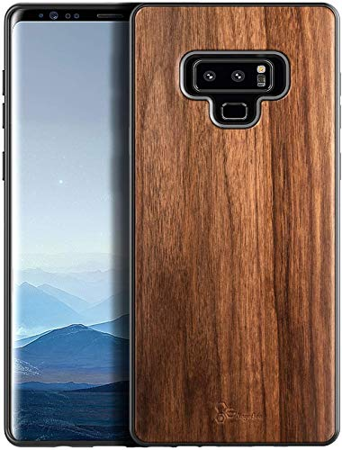 E-Began Case for Samsung Galaxy Note 9, [Real Natural Walnut Wood], Dual Layer Hybrid Protective Bumper Shockproof Phone Case (Every Piece is Unique) -Wood