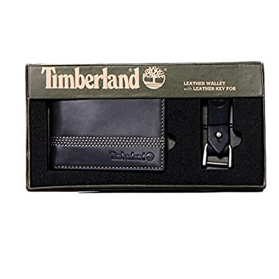 Timberland Men's Leather Slimfold Wallet with Matching Fob Gift Set, Black, One Size