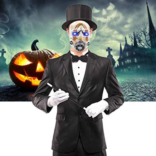 Macabolo Máscara de látex Psycho completa, ojos de luz LED miedo Halloween Cosplay máscara para fiesta Bar Halloween Cosplay Props
