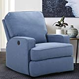 CANMOV Electric Power Recliner Chair, Soft Polyester Fabric Recliner,Adjust The recliner's inclination Through The Button, Breathable Bonded Home Theater Seating (Blue)