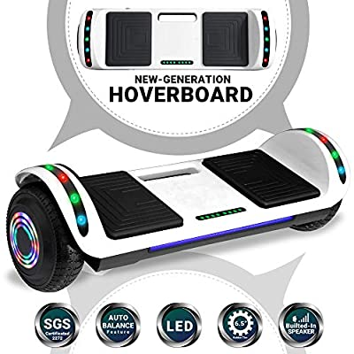 Beston Sports Newest Generation Electric Hoverboard Dual Motors Two Wheels Hoover Board Smart self Balancing Scooter with Built in Speaker LED Lights for Adults Kids Gift (White)