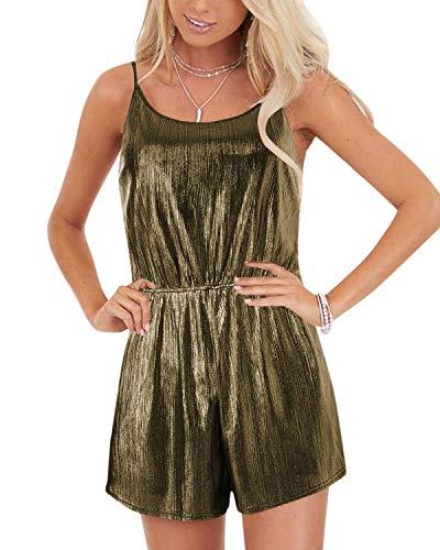 YOINS Mono de mujer Jumpsuit elegante corto vestido de verano sin mangas Mono de una pieza casual de pijama sexy playsuit de playa dorado s