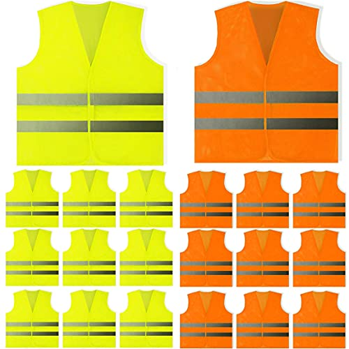 20 Pack Yellow and Orange Safety Vest - Mesh Safety Vest (10 of Each Color)