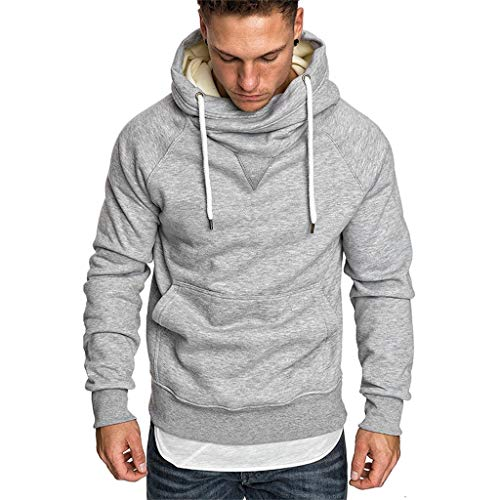 KaikiHerren Oversize Kapuzenpullover Sweatshirt Solid Slim Fit Hoodie Pullover Sweater Tops Blouse Mit Kapuze (3XL, Grau)