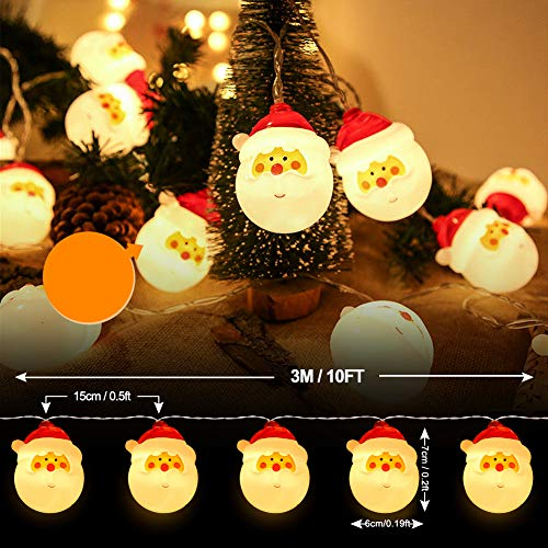 Christmas Santa String Lights, Battery Operated Decorations Lights for Xmas, 10ft Warm White Fairy Lights for Christmas Tree Indoor Outdoor Party Wedding New Year Décor (Santa) 6