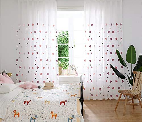 Naturer Vorhänge Kinderzimmer Mädchen Prinzessin 225x140 Lang Herz Blumenmuster 2 Stücke Tülle Vorhänge Durchsichtig Fenster Dekoschal Babyzimmer