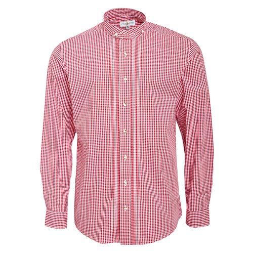 Almsach Herren Stehkragen-Trachtenhemd Regular-Fit Trachten-Mode traditionell-kariert s-XXL in vielen Farben, Größe:M, Farbe:Rot