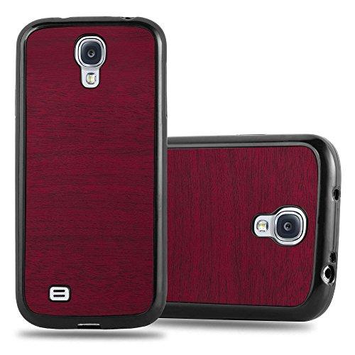 Preisvergleich Produktbild Cadorabo Hülle für Samsung Galaxy S4 - Hülle in Wooden ROT Handyhülle aus TPU Silikon in Vintage Holz Optik - Silikonhülle Schutzhülle Ultra Slim Soft Back Cover Case Bumper