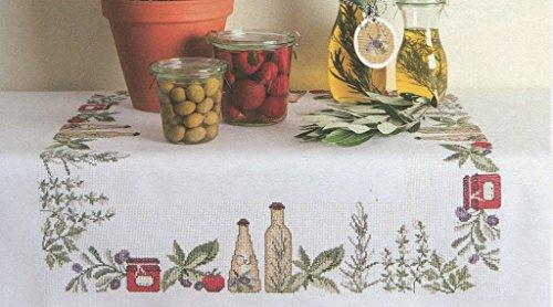 Tischdecke weiß zum Besticken im gezählten Kreuzstich, ohne Material