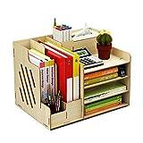 Organizador de escritorio de madera, de gran capacidad, caja de almacenamiento, estante para archivos, papeles o documentos, color Arce blanco.