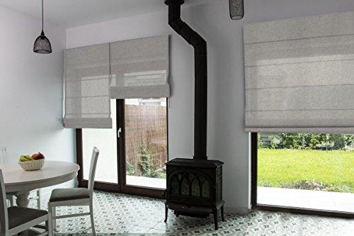 Premium-Raffrollo nach Maß, Raff-Gardinen, Vorhang, hochqualitative Wertarbeit, alle Größen verfügbar, halbtransparent, maßgefertigt, Klemmfix ohne Bohren (140cm Höhe x 200cm Breite/Stone)