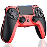 Wireless Controller for Playstation 4/Pro, PS4 Controller Remote for PS4 Game, Modded Gamepad for PS4 Compatible with Dual Shock, LED Flashing, 1000mAh Rechargeable Battery, 3.5mm Audio Jack - Red