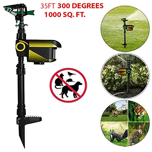 HighHoop 35FT 300 Degrees Motion Activated Animal Repeller Garden Sprinkler Scarecrow Black Protect Them from Damage Caused by Hungry Wildlife Or Local Dogs and Cats