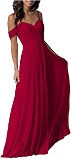 Jonlyc Women's A-Line Pleated Cold-Shoulder Chiffon Long Bridesmaid Dress