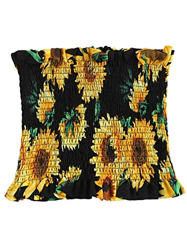 SheIn Women's Summer Floral Print Pleated Strapless Bandeau Tube Crop Tank Tops Large Sunflower