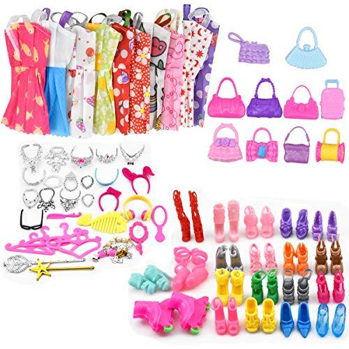 70pcs Puppe Kleider Puppenzubehör Outfit Kleidung für 11,5 Zoll Mädchen Puppen Bekleidung und Schuhe für Modepuppen, Taschen, Schmuckstücke Zubehör für Puppen Kleidung Partymode Prinzessinnen