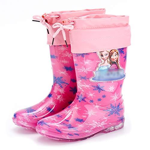 YOSICIL Niña Botas de Agua Frozen con Forro cálido Estampado Elsa y Detalles Blancos Botas Lluvia con Suela Antideslizante y Cierre con Cordón Zapatos de Princesa Elsa Botas de Invierno