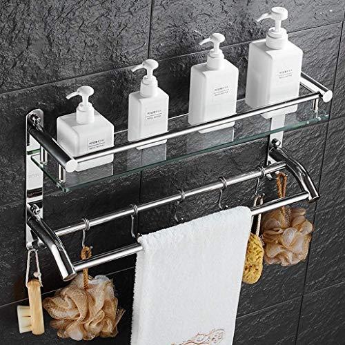 CCLLA Estantes para baño Estante para cosméticos de Acero Inoxidable de 2 Niveles y Estante de Vidrio Templado de 7 mm de Espesor Marco de baño Marco de suspensión para 3 rieles de Toalla y 5 ganc