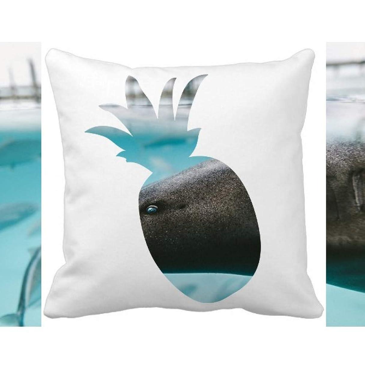 被る省略するアカウント海洋生物サメの海の動物 パイナップル枕カバー正方形を投げる 50cm x 50cm