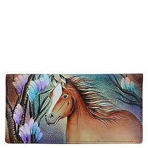 Anuschka Women's Genuine Leather Checkbook Cover | Hand Painted Original Artwork |
