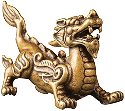Kwok Mini Brass Fly Dragon Doll Home Decor Gift Sculptures Collection BFF for Dragon Lovers Chinese Lunar Year of Dragon - Bookself TV Stand Decor Chinese Handicrafts