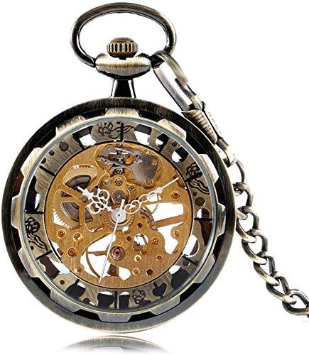 HFJKD zakhorloge horloge voor heren Dames Handopwinding Mechanische zakhorloges Zilver Goud Brons Balck hanger met Fob Chian