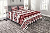 Lunarable Ukrainian Bedspread, Squares Rhombuses and Flowers Classical Pattern Eastern European Print, Decorative Quilted 3 Piece Coverlet Set with 2 Pillow Shams, Queen Size, Charcoal Red