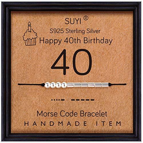 Suyi 40 Regalos De Cumpleaños para Mmadre Pulsera Código Morse Pulsera De Plata Esterlina Joyas De Cumpleaños 40