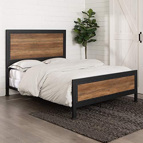 Walker Edison Rustic Farmhouse Wood Queen Metal Bed Headboard Footboard Frame Bedroom, Reclaimed Brown Oak