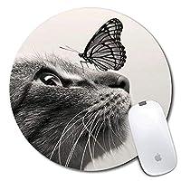 パーソナライズされた丸いマウスパッド、印刷された猫と蝶のパターン、滑りにくいゴム製の快適なカスタマイズされたコンピューターマウスパッド(7.87x7.87inch)