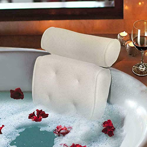 Bath Pillows 3D Mesh Bathroom Spa Non-Slip Cushioned Bathtub Head Rest Pillow With Suction Cups For Neck And Back