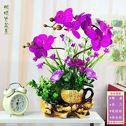 LXFLY Fiori Artificiali Matrimonio casa Giardino uffici Decora zione Fiore Finto Phalaenopsis Composizione Floreale Artificiale Viola