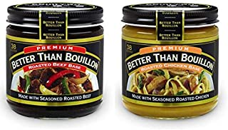 Better than Bouillon Premium Roasted Beef Base & Roasted Chicken Base 8 ounce Jars (Pack of 2)