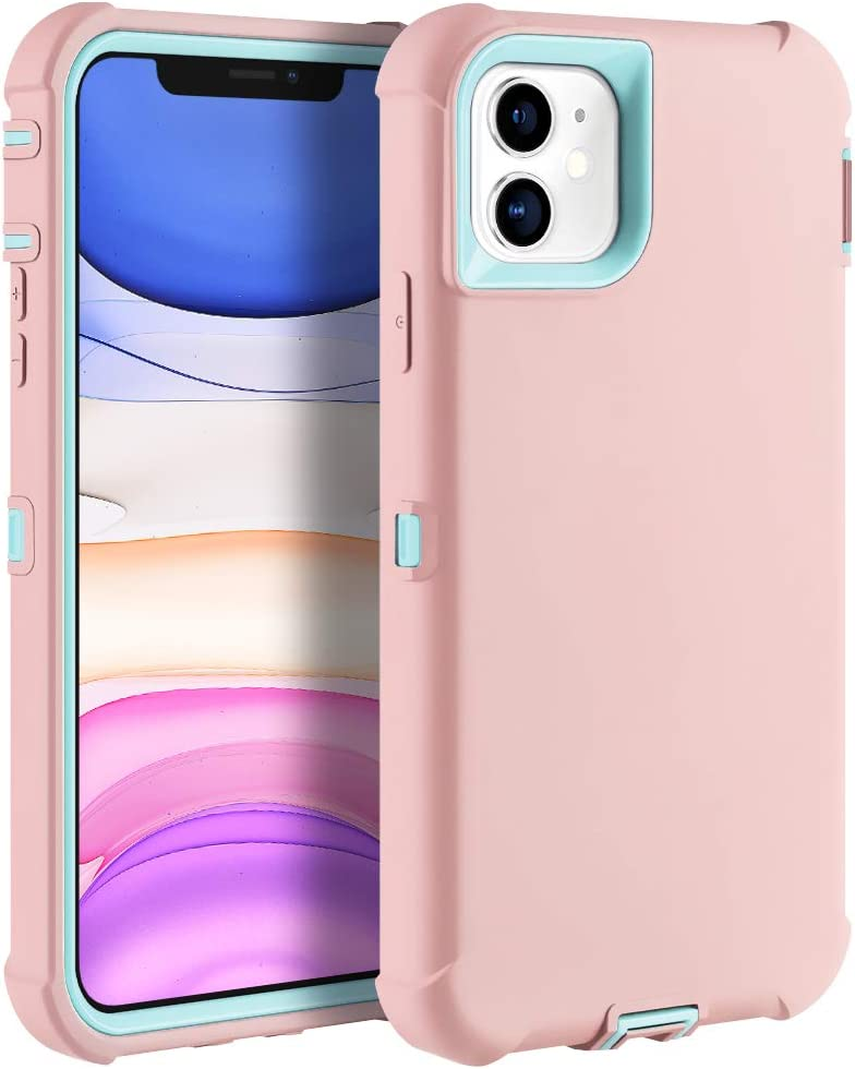 Sansunto for iPhone 11 Case, Durable Heavy Duty Shockproof Full Body Protective Case 3in1 Hard PC Bumper and Soft Silicone Back Cover for iPhone 11 6.1 inches (Grapefruit/Teal)