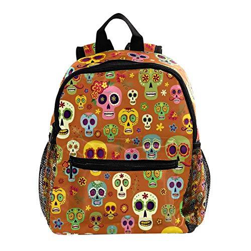 Linda Mochila Barba Calavera Colorida Cute Student Backpack Design Mejor Mochila para niños Mochila Grande y Clara para Adolescentes Niñas Niños 25.4x10x30 CM