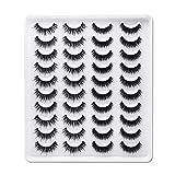 JUANJUAN Pestañas postizas 20 Pares 3D Cross Pestañas Postizas Mezclado Natural Femenina Maquillaje De Ojos para Fiesta De Boda Profesionales, 2 Estilos(Size:C)