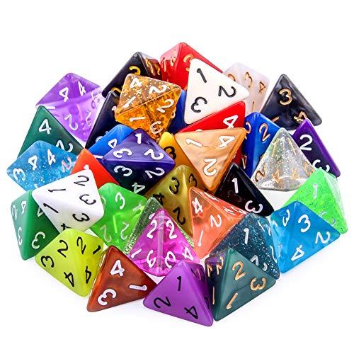 SIQUK 35 Piezas Dados de rol Poliédrico 4 Caras Dados de Colores para DND y Enseñanza de Matemáticas, con Bolsas