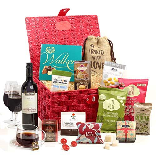 Hay Hampers' Crimson Celebration Food & Wine Hamper Basket For Couples